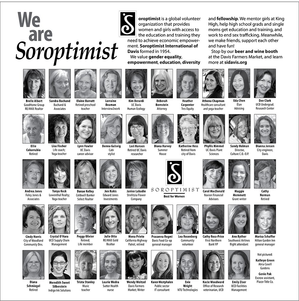 We are Soroptimist ad from the 2019 Women in Business issue of the Davis Enterprise newspaper